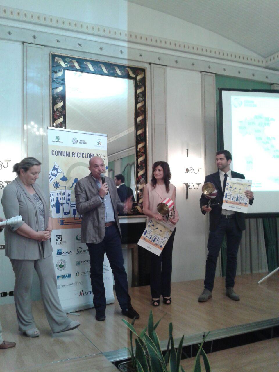 Roccandrea Iascone alla cerimonia di premiazione di Comuni Ricicloni 2015